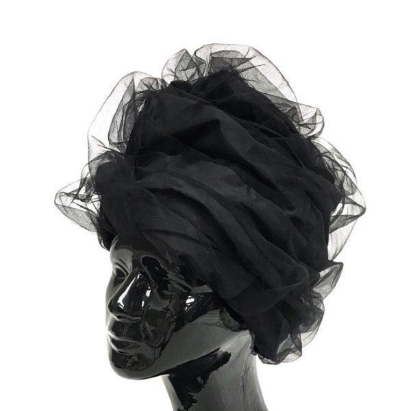 Turban hat hijab of silk taffeta and fatin