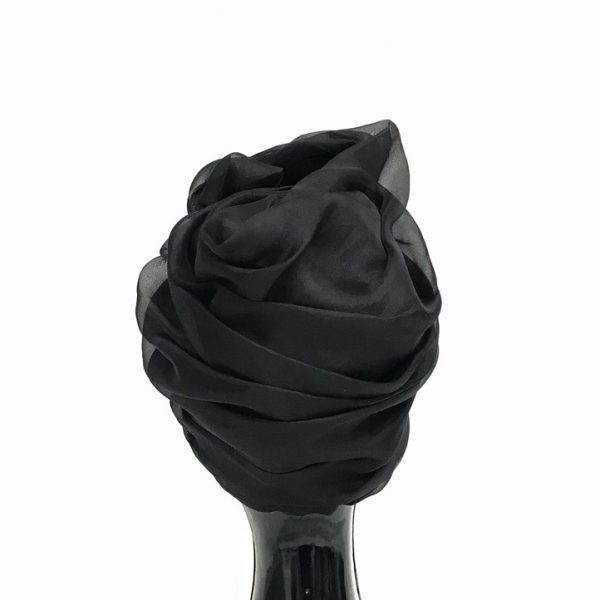 Black silk organza turban hat hijab with a big Pearl bead