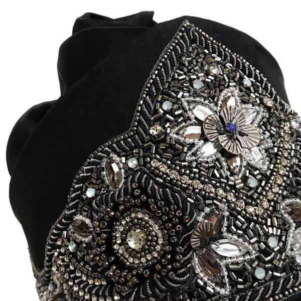 Luxury embroidery for the silk turban hat SVS VERA SUKHININA
