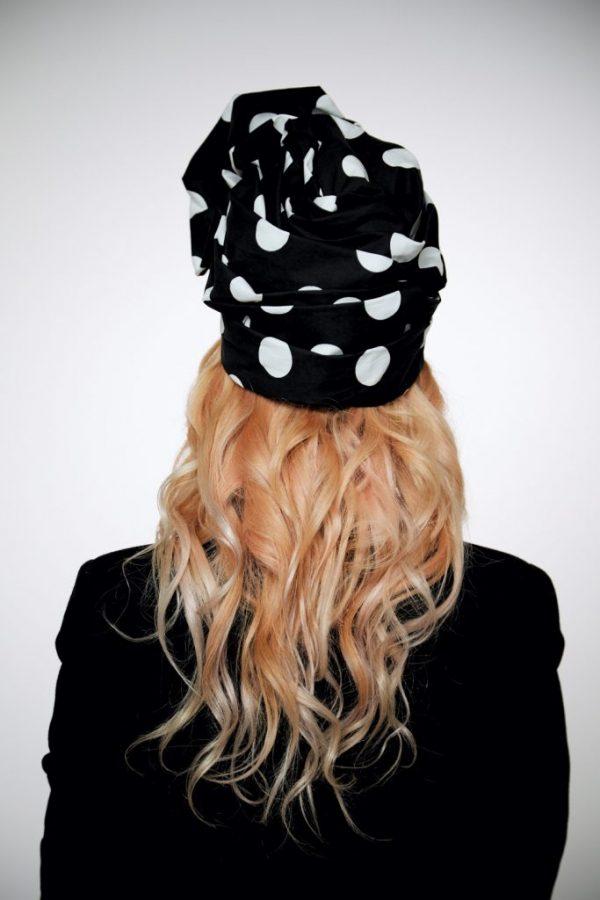 D&G black cotton turban hat hijab with white polka dot