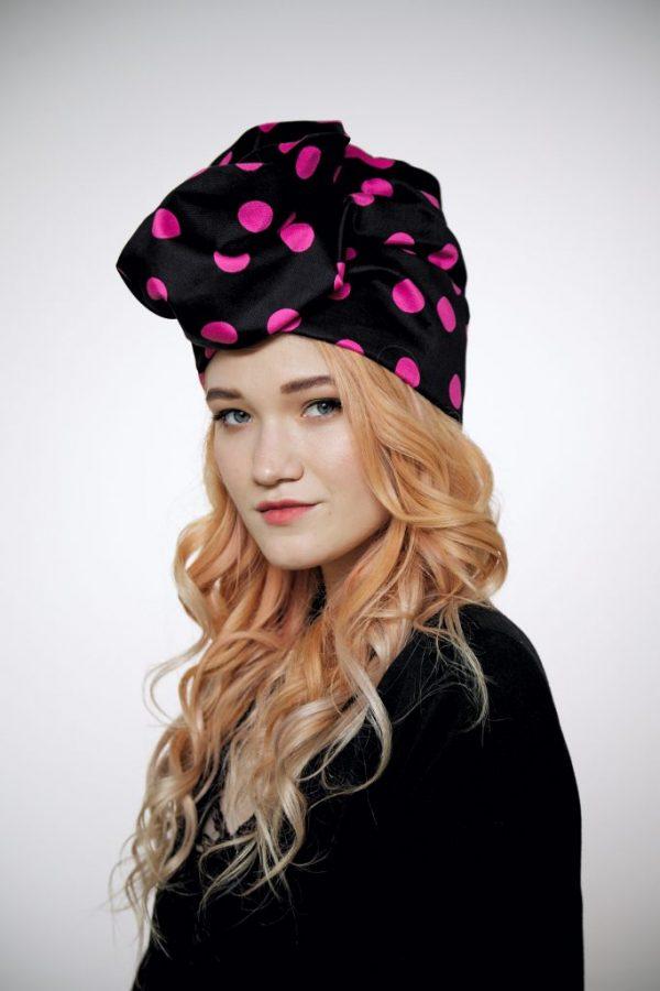 Black cotton turban hat hijab with fuchsia polka dot