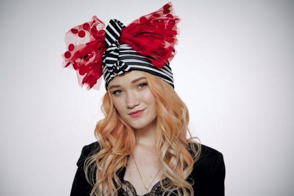 Striped convertible black-white turban hijab hat