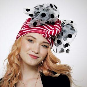 Striped convertible red-white turban hijab hat