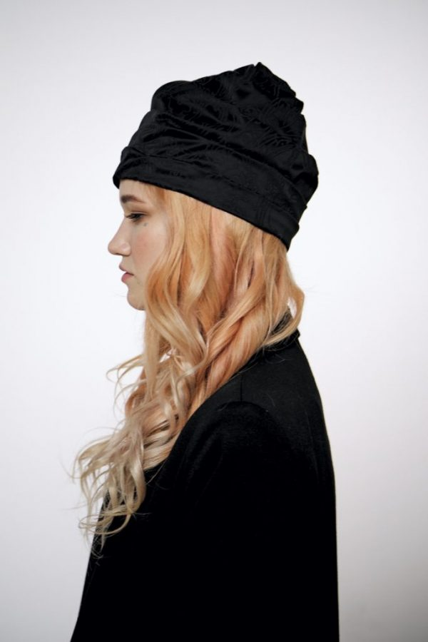 Summer Black turban hat hijab with tassels