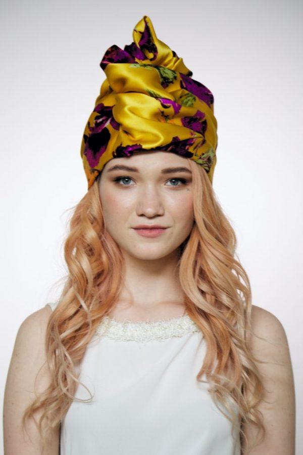 Turban hat hijab of yellow floral silk
