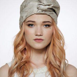 Turban hat hijab of a beige cotton jacquard