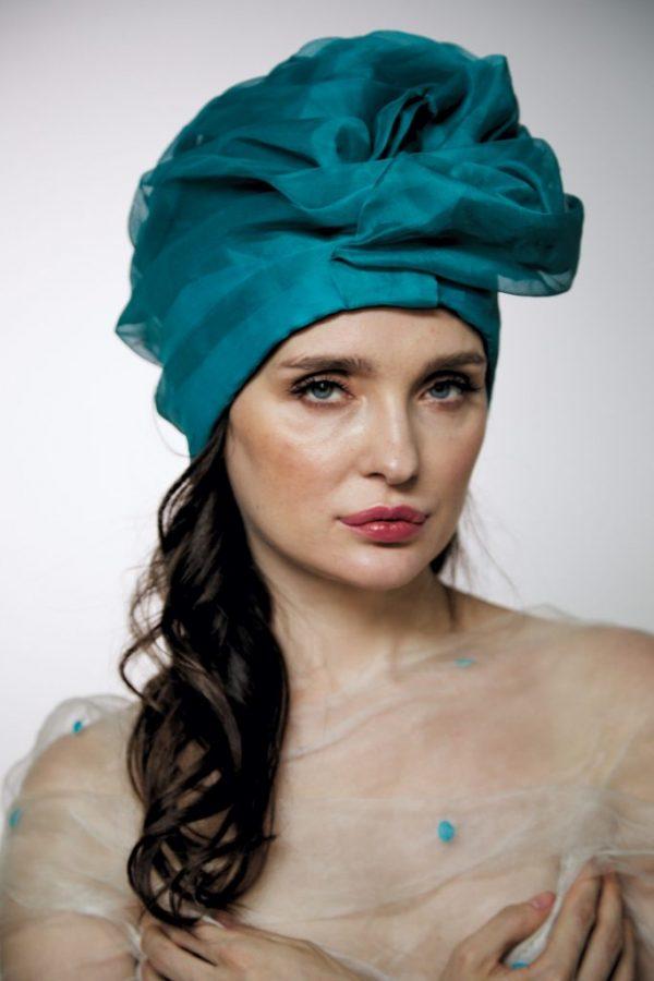 Turquoise silk organza turban hat hijab with a big Pearl bead