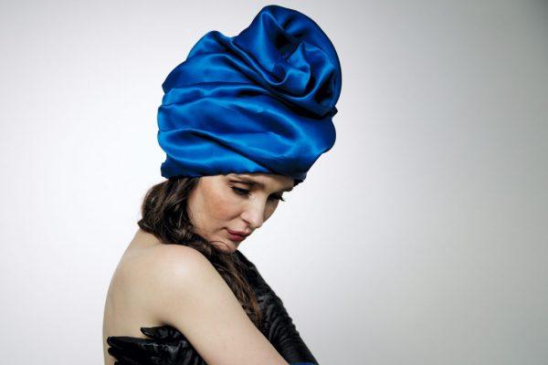 Royal blue silk organza turban hat hijab with a big Pearl bead