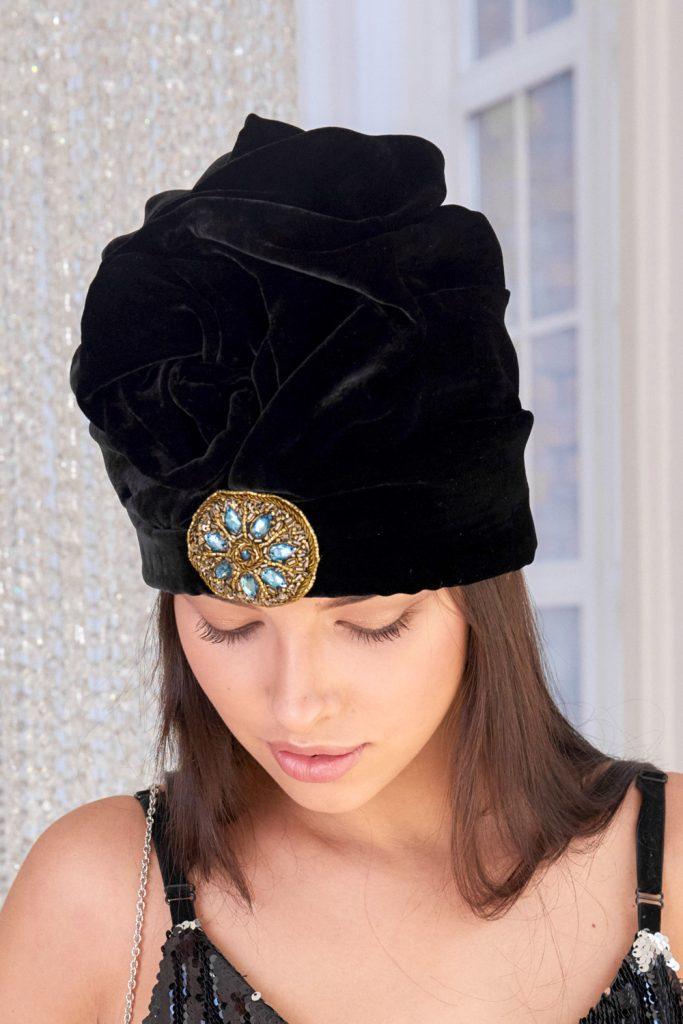 small embroidery black velvet turban hat hijab