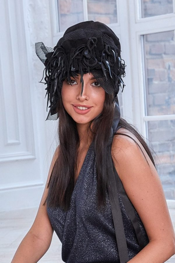 Turban hat hijab of black textured viscose with removable decor