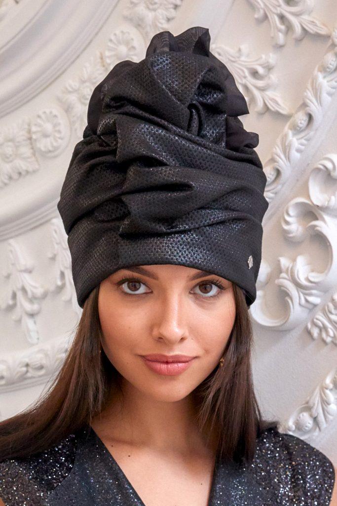 Turban hat hijab of black textured silk with ruche
