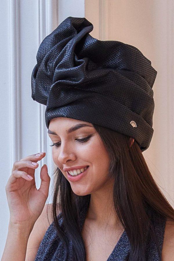 Turban hat hijab of black textured silk