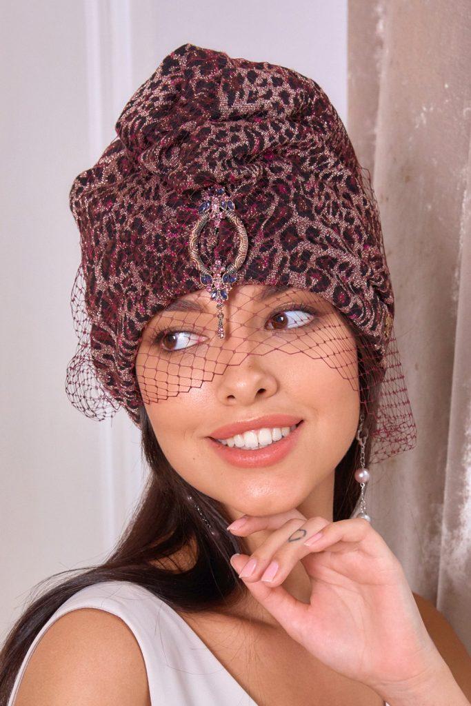 Turban hat hijab of leopard jersey with veil