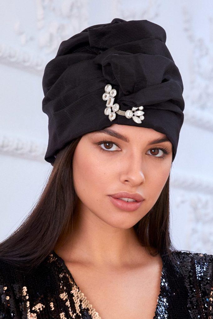 Turban hat hijab of black viscose with crystals