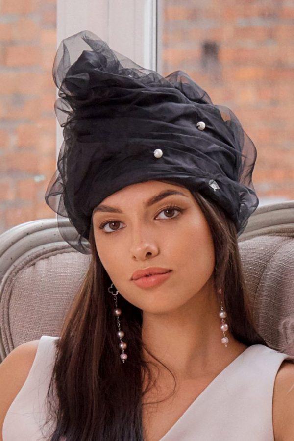Turban hat hijab of silk taffeta with pearls and fatin