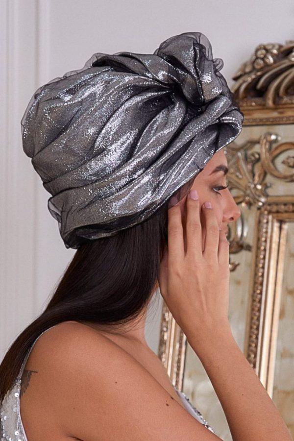 Turban hat hijab of silk taffeta with lurex and fatin