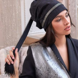 Turban hat hijab with tail and silver trim